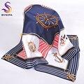 Otoño de Rayas A Cuadros Plazoleta Bufandas Impreso 2016 Nuevas Señoras de la Marca de Accesorios de 100% Bufanda de Seda Pura 53*53 CM Bufanda de Color Azul marino