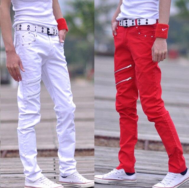 2016 мужской свободного покроя осень зима мужская свободного покроя брюки тонкий молодежная мода талии прямые ноги длинные брюки для певец танцор красный
