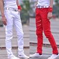 2016 inverno masculina outono casuais calça casual dos homens magro juventude moda pé calças compridas para o cantor dançarino cintura reta vermelho