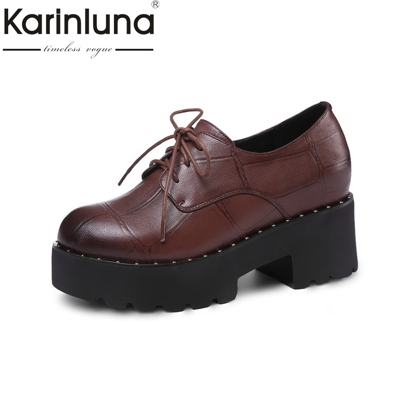 KarinLuna 2018 Spring Autumn Genuine Leather Fashion Round Toe Flat Platform Shoes Woman lace-up Hight Increasing School Shoe front lace up casual ankle boots autumn vintage brown new booties flat genuine leather suede shoes round toe fall female fashion