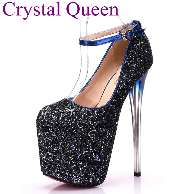 Crystal Queen 19cm Sexy party heels shoes Women gold Bling pumps fashion  party shoes 20cm heel platform shoes lady gaga heels cbe52c8397cf