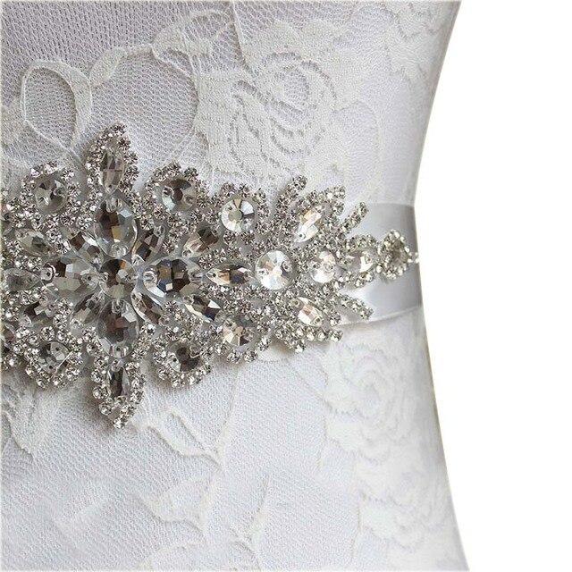 Fashion Rhinestones Applique Ribbon Wedding Sash Evening Dress Belt Handmade with Length RIbbon JL 3