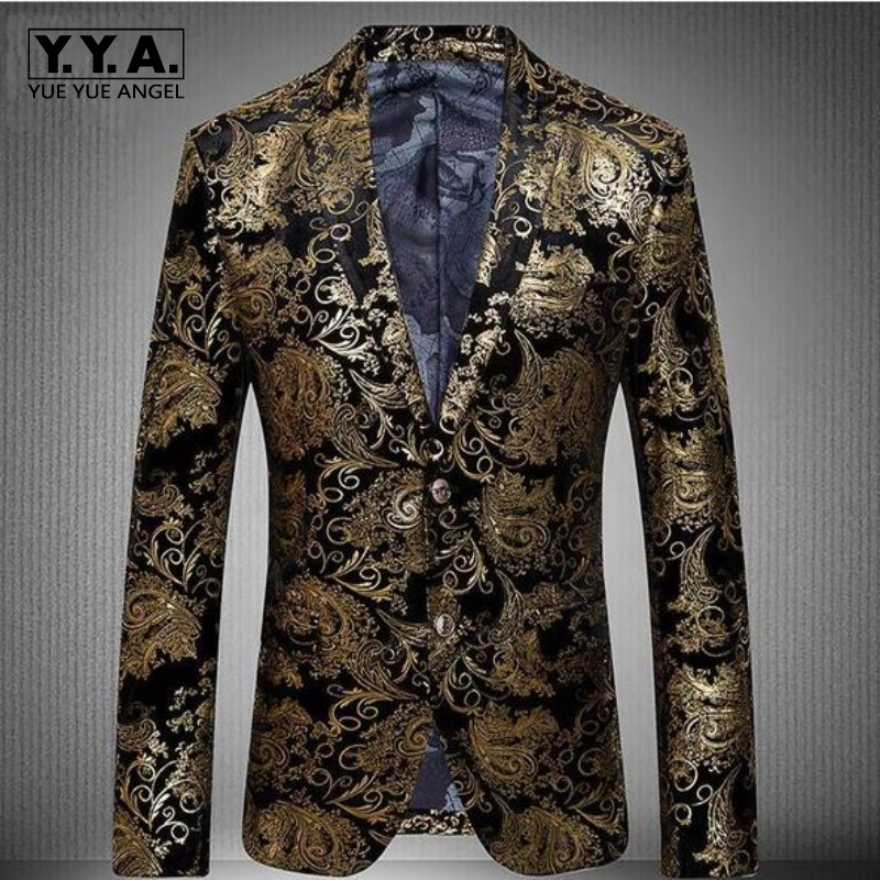 Gold Blazer Men Floral Casual Slim Blazers 2018 New Arrival Fashion Party Single Breasted Men Suit Jacket Male Blazers Plus Size single breasted slim fit blazer men chinese tunic suit jacket male suits man fashion blazers stand collar autumn plus velvet