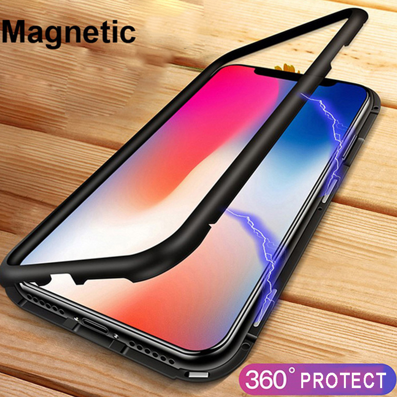 Magnetic Adsorption Flip Phone Case for iPhone X 10 8 7 Plus Clear Back Tempered Glass + Metal Magnet Cover for iPhone 6 6s Plus