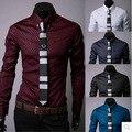 free shipping 2015 Plus Size Plaid Shirts For Men Slim Fit Shirt Men Long Sleeve Mens Dress Shirts Camisa Masculina M-5XL