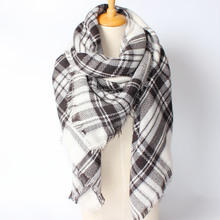 Za Christmas Scarf Winter Brand Neck Warmer Houndstooth Cashmere Tartan Plaid Double Side Blanket Scarf Shawl