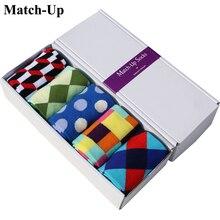 Match Upจัดส่งฟรีCombedฝ้ายผู้ชายแบรนด์ถุงเท้าถุงเท้าสีสันสดใส (5คู่/ล็อต) ไม่มีของขวัญกล่อง