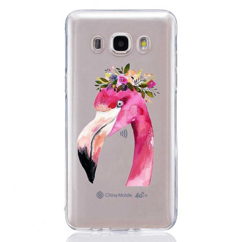 Для Samsung Galaxy A3 A5 2016 2017 Премьер J1 J2 J3 J5 J7 ТПУ Красочный мягкий Фламинго Buterfly роспись дизайн чехол Fundas C328
