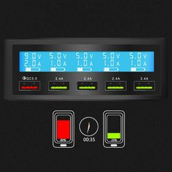 5 Port USB QC 3.0 Quick Charger 5V 10A AC 100-240V LCD Voltage Current Display for iPhone iPad Samsung
