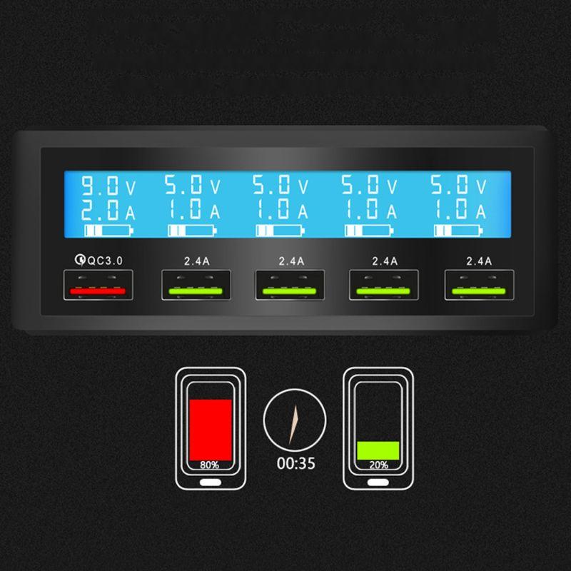 5 Puerto USB rápida QC 3,0 cargador 5 V 10A AC 100-240 V LCD corriente de voltaje de pantalla para iPhone iPad Samsung