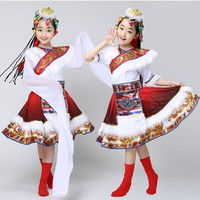 Новая детская Тибетский Танцевальный костюм детей Монголия сценический костюм рукава Одежда