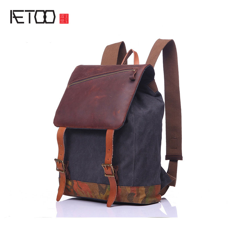 Canvas bag retro backpack travel bag tide cool men and women student bag washing water with crazy horse leather bag new tide package suede women bohemian wind retro backpack pu chain men and women lovers tassel bag