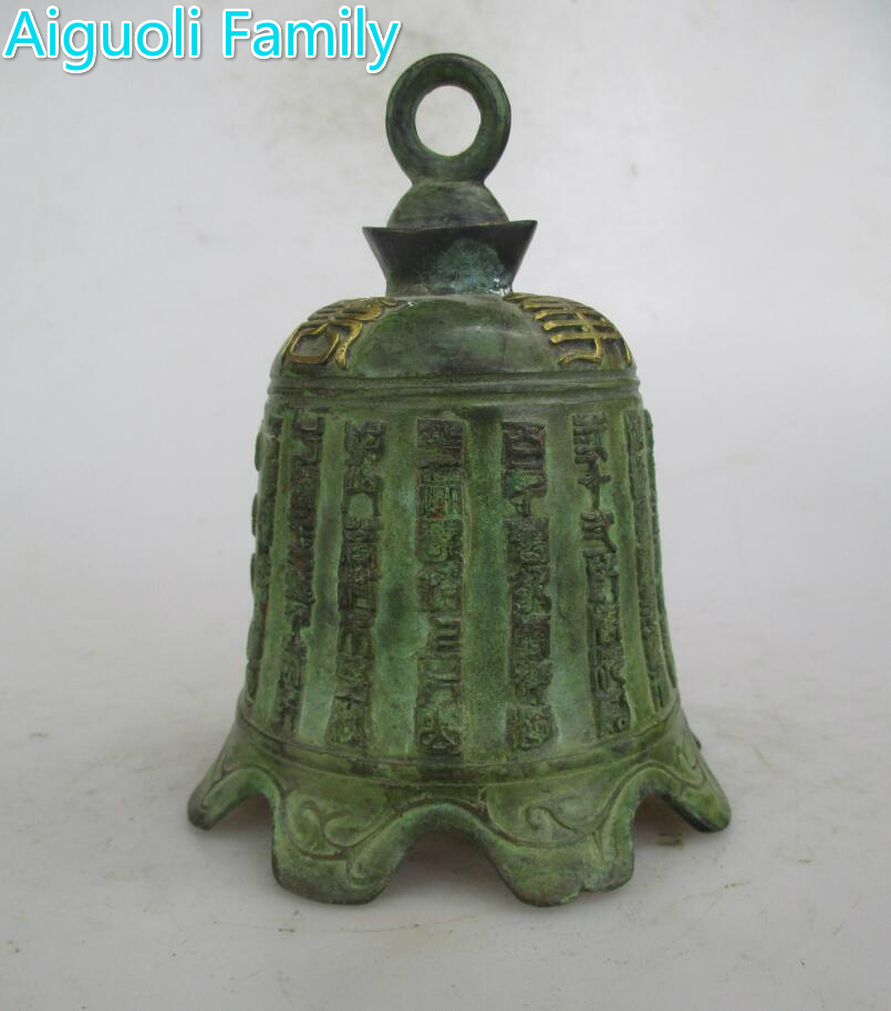 AAA+Rare Chinese Old Bronze Carved Guanyin Bell Figurines /Art Bell Craft For Home Decoration Antique Collection