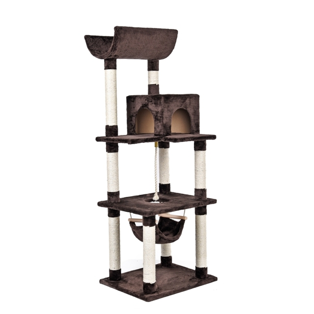 luxury cat scratching post toy cat tree browngray cat scratcher house for cat toys