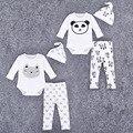 3 pcs muito Bebê Menino Roupas de Menina Manga Comprida Panda Impresso 2016 Primavera Outono Romper Do Bebê Recém-nascido Próximo Bebê Macacões guarnições
