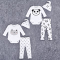 3pcs lot Baby Boy Girl Clothes Long Sleeve Panda Printed 2016 Spring Autumn Baby Romper Newborn Next Jumpsuits Baby clothings