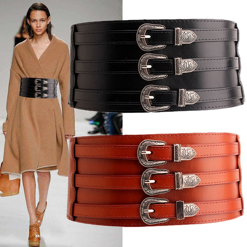 New Cummerbunds Belt Women's Waist  Wide Fashion Black Pu Elastic      Decorative Pu  Sweater.