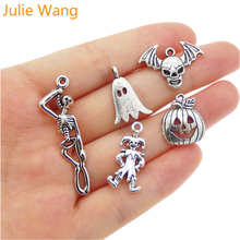 Julie Wang 5pcs Mixed Halloween Pumpkin Skull Ghost Clown Antique Silver Charms Necklace Pendant Jewelry Making Accessory