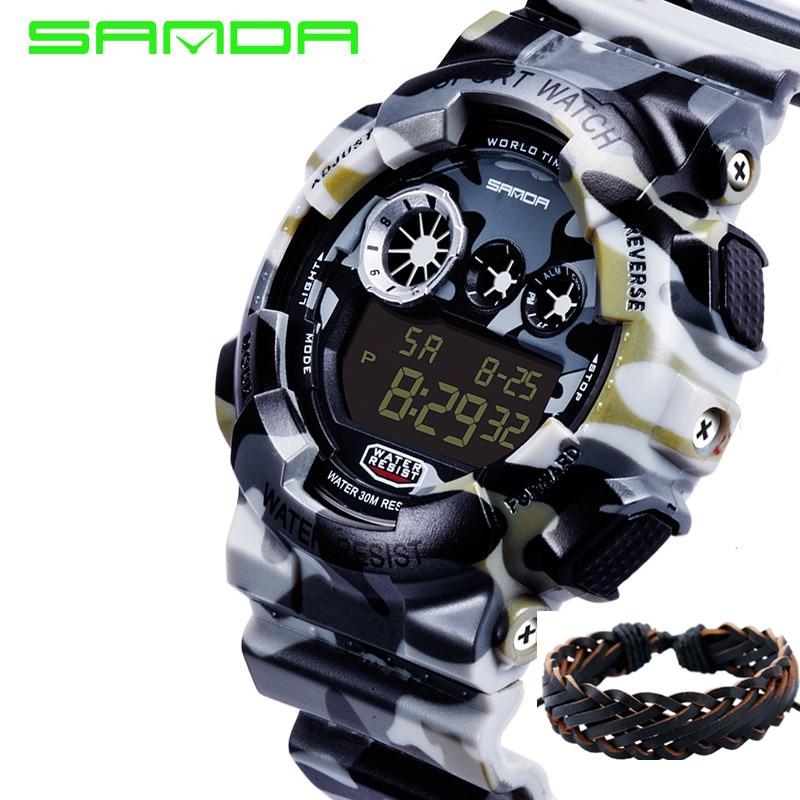 2018 nueva marca de moda Sanda reloj hombres de lujo choque analógico  cuarzo Digital Hombres G estilo impermeable deportes militar relojes f6d110cf38eb