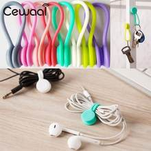 Cewaal Wholesale 1/80/400 Pcs/pack Silicone Soft Magneti Coil Earphone Cable Wire Winder Bobbin Hub Organizer 8 colors(China)