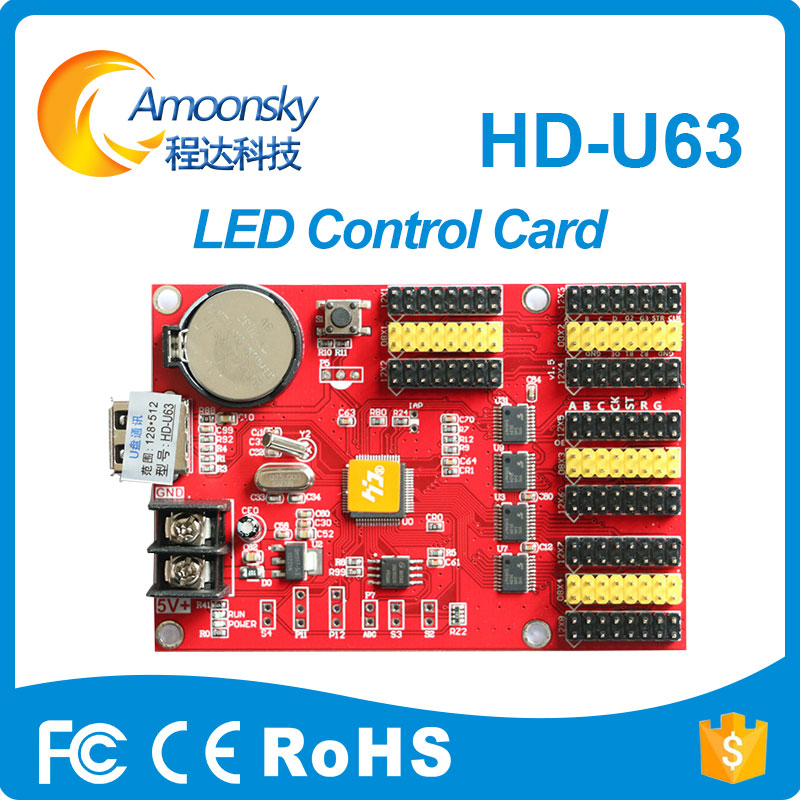 HD-U63 led scrolling sign busniess used signs control card dmx led controller