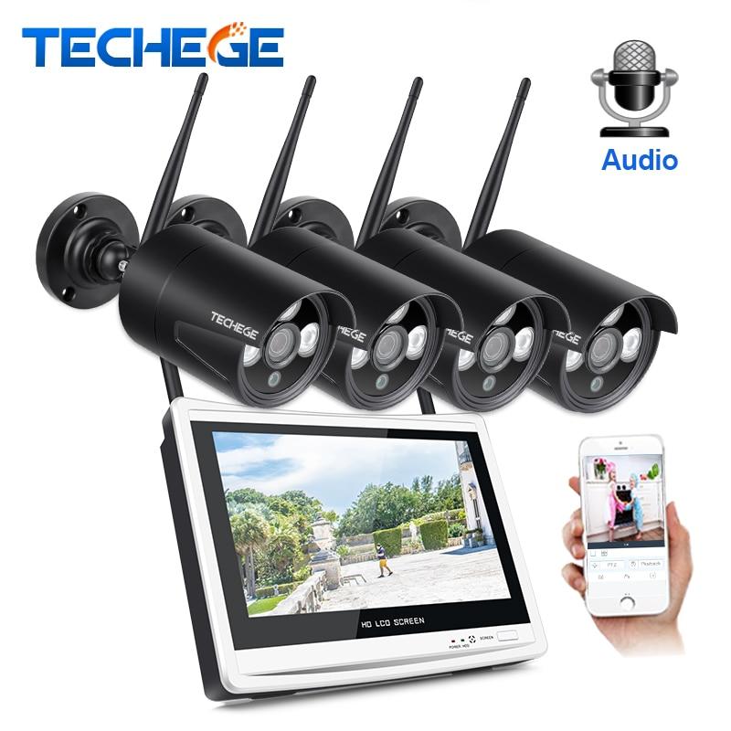 Techege 1080 P NVR Sem Fio Kit 12 Monitor LCD 2MP Wifi Câmera IP 1080 P Áudio Câmera de CCTV Casa sistema de Vigilância segurança Kit