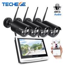 Techege 1080P Wireless NVR Kit 12″ LCD Monitor 2MP Wifi IP Camera 1080P Audio CCTV Camera Home Security System Surveillance Kit