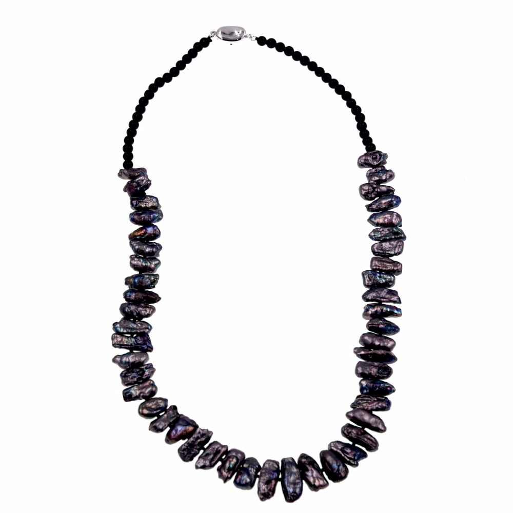 Fashion pearls jewelry 4mm Black onyx beaded Black keshi freshwater pearl Necklace for womens 22inch