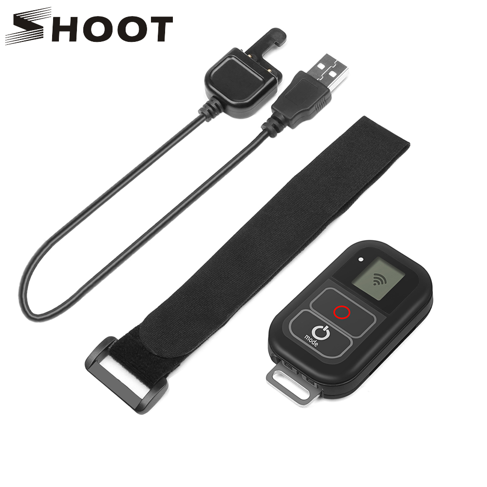SHOOT 0.8 Inch Waterproof Wireless Wifi Remote Control for Gopro Hero 7 5 6 4 with USB Charger Cable Remote Go pro 7 6 Accessory waterproof remote control for go pro hero remote case remote wrist belt charger cable for gopro hero 7 hero 6 5 3 3 4 5 session
