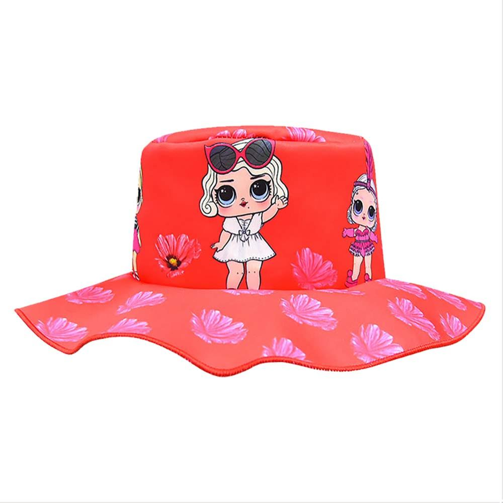 Baby Cartoon Print Surprise Bucket Sun Hat Children Summer Panama Caps Baby Girls Fisherman Straw Hat Doll Printed Kids Topee Ca(China)