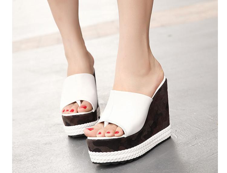 6992f498f91e69 Cheap Trendy Womens Flip Flop Sandal Camo Trifle High Heel Platform Wedges  Slip On Peep Black White Leather Summer Style Shoes-in Women s Sandals from  Shoes ...
