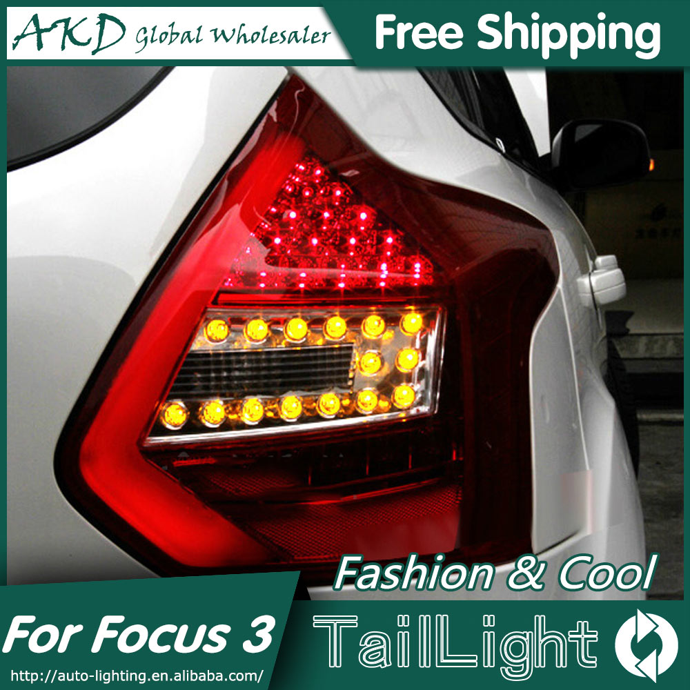 AKD Car Styling for Ford Focus 3 Tail Lights 2012-2014 Focus Hatch Back LED Tail Light Rear Lamp DRL+Brake+Park+Signal car styling tail lamp for ford focus 2012 tail lights led tail light rear lamp led drl brake park signal stop lamp
