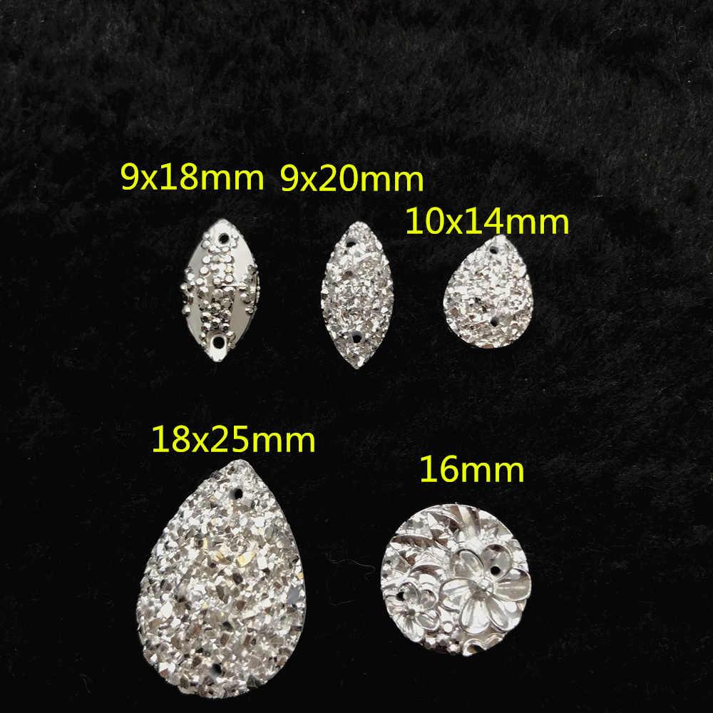 c960fe2d12532 Silver Drop Round Marquise Mix Flatback AB Sew Strass Crystal Stone Diy  Sewing Rhinestone For DIY on Clothes Wedding Dress Craft