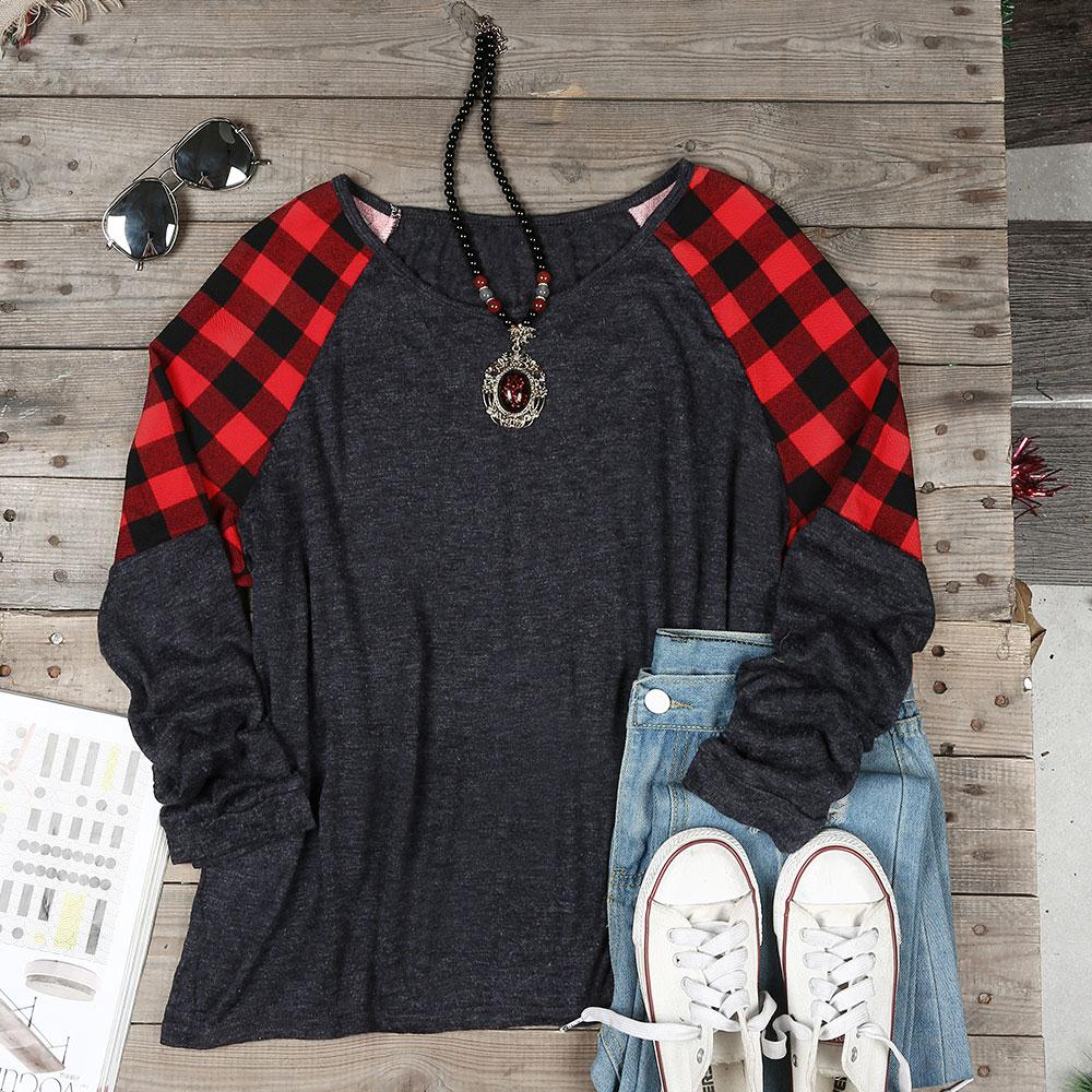 Women's Plaid Splicing Patchwork Long Sleeve T-Shirt