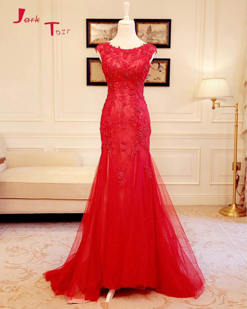 Jark Tozr 2019 nouvelle arrivée rouge robes De soirée Robe De soirée perles Appliques dentelle Tulle sirène robes formelles longue Abiye