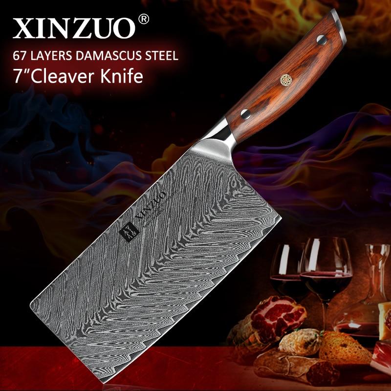 XINZUO 7 ''cali tasak nóż ze stali nierdzewnej VG10 damaszek gotowanie narzędzia do tasak mięso najlepszy prezent noże róża, drewno, uchwyt w Noże kuchenne od Dom i ogród na  Grupa 1