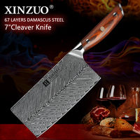 XINZUO 7'' inches Cleaver Meat Knife Stainless Steel VG10 Damascus Cooking Tools Cleaver Best Gift Knives Rose wood Handle