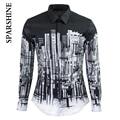 2016 Homens Marca de Luxo Camisa Chemise Homme Preto Branco Da Cidade impressão de Algodão Slim Fit Manga Comprida Mens Camisas de Vestido Ocasional camisa
