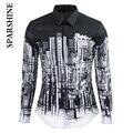 2016 Luxury Brand Мужчины Рубашка Сорочка Homme Черный Белый Город печать Slim Fit Мужская с Длинным Рукавом Рубашки Случайные Хлопка рубашка