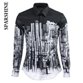 2016 Luxury Brand Men Shirt Chemise Homme Black White City printing Slim Fit Long Sleeve Mens Dress Shirts Casual Cotton Shirt