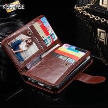 Kisscase для iPhone 7 7 Plus 6 6 S Plus PU кожаный кошелек Чехол Съемный отделения для карточек фоторамка крышка Для Samsung Galaxy S7 край