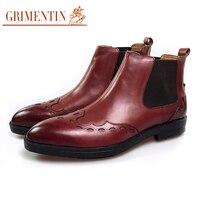 GRIMENTIN Роскошные коричневые мужские ботинки обувь для бизнеса из натуральной кожи