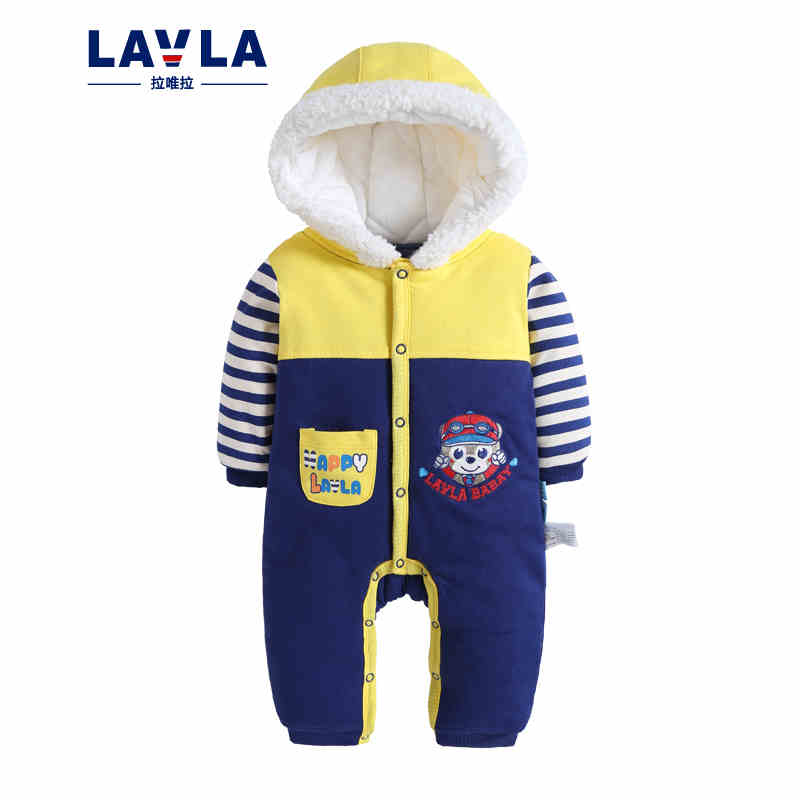 цены  LAVLA Warm Thick Winter Knitted Coat Baby Romper Hoodies Fleece Newborn Boys Girls Jumpsuits Cartoon Cut Infant Hooded Outwear