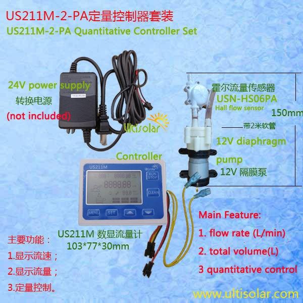 Us211m-2-pa Quantitative Controller 1.5l/min Volumenstrom Display Mit Usn-hs06pa Halle Durchflusssensor 99.5% Genauigkeit Gesamtvolumen Messung Und Analyse Instrumente Durchflussmesser