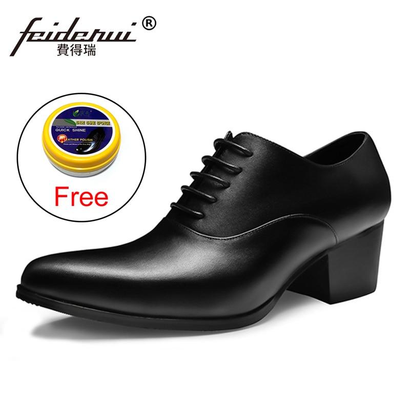New Italian Designer Man Formal Dress Genuine Leather High Heels Oxfords Pointed Toe Height Increasing Men