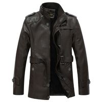 Winter PU Leather Jacket Men Long Wool Leather Standing Collar Jackets Coat Outdoor Trench Parka Mens