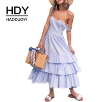 HDY Haoduoyi Layered Frill Sleeveless Pleated Mid Dress Backless Strap Off Shoulder Pretty Style V Neck Vestidos For Female