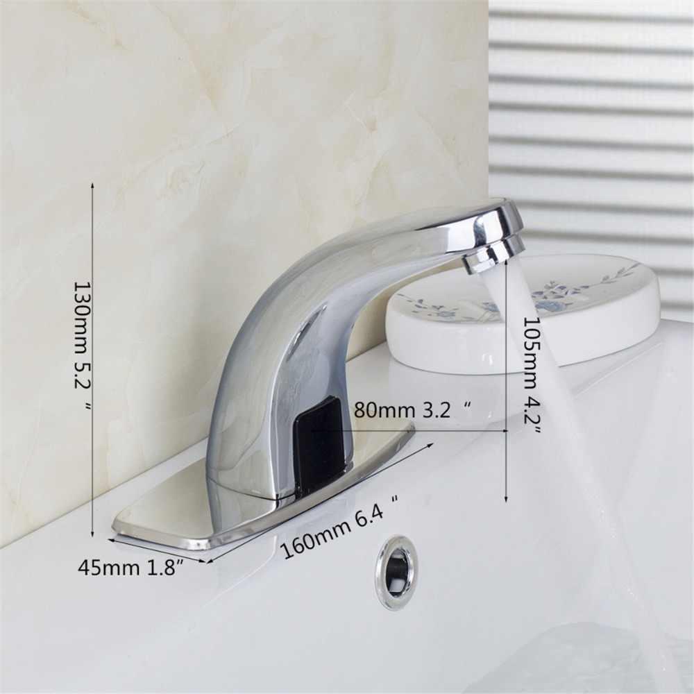 Kemaidi Otomatis Faucet Tangan Sentuh Bebas Sensor Bathroom Sink Keran Otomatis Elektronik Pencampur Sensor Keran Deck Mounted Kran