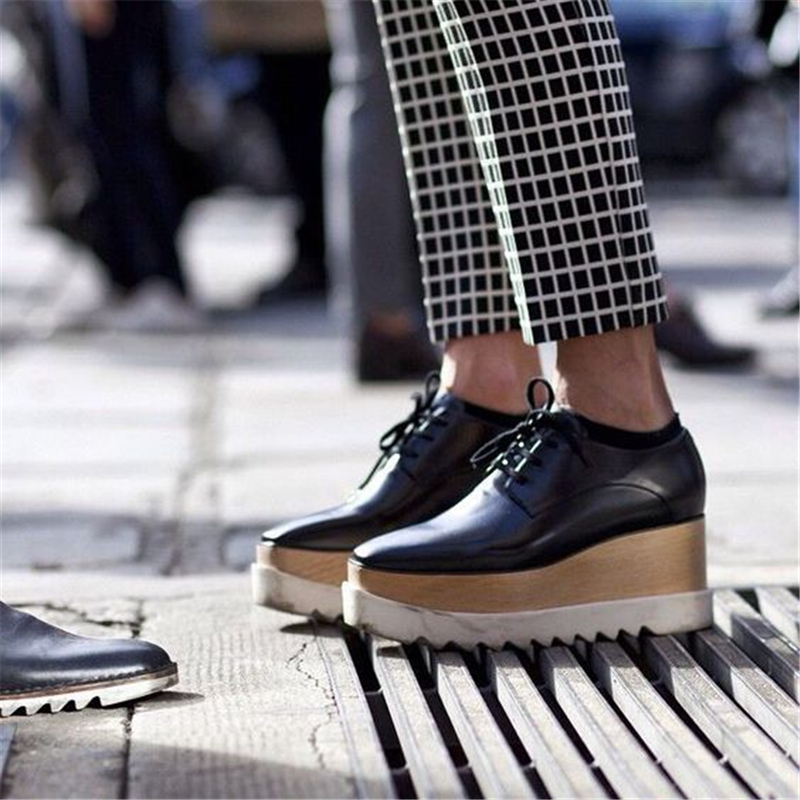 New Women Fashion Stars Loafer Shoes Lady Square Toe lace up Thick Bottom Platform Wedge Shoes