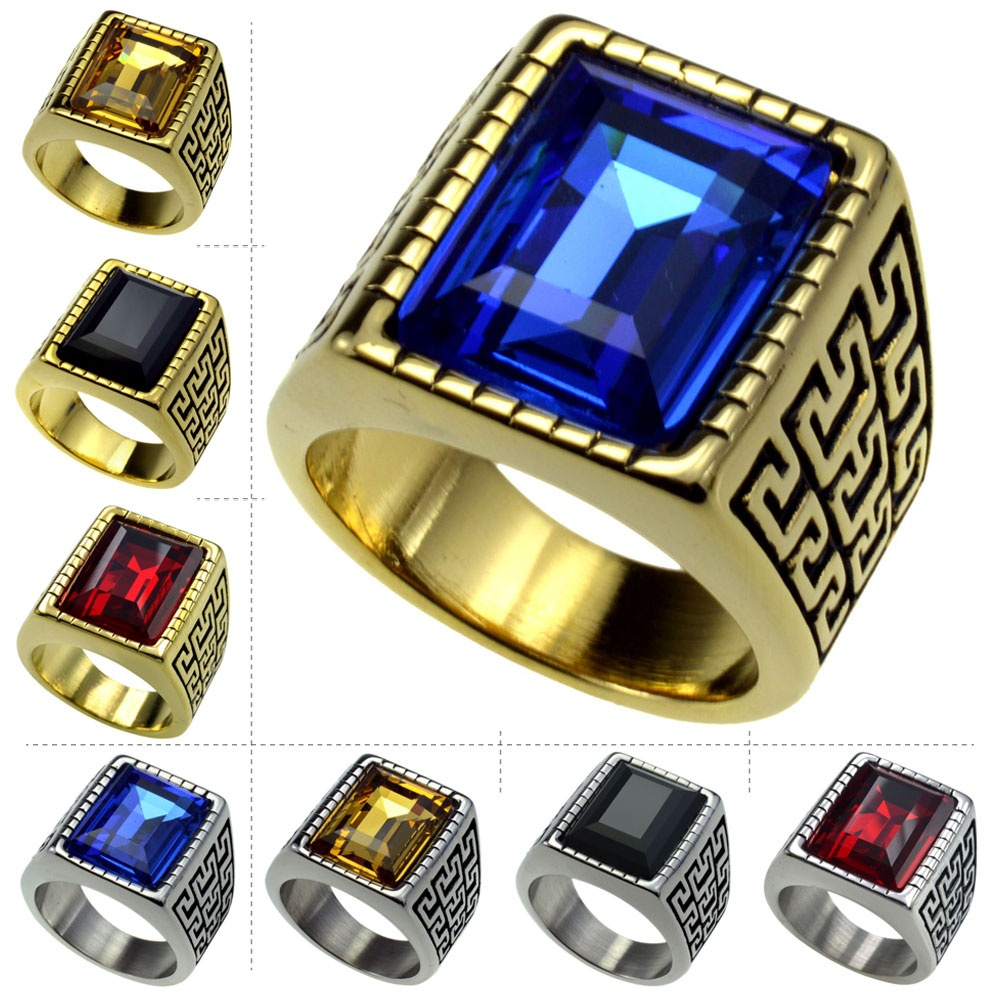 Gold Silver Men's Stainless Steel 316 Cushion Cut Cubic Zirconia Ring Size 9 10 11 12 13 14 15